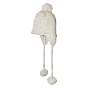 Ivory Cable Knit Earflap Tassel Pompom Hat