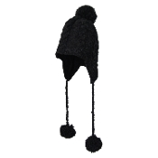 Black Cable Knit Earflap Tassel Pompom Hat