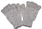 Grey plain Knitted Half Gloves