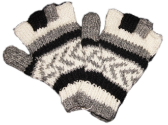 Striped arrow Knitted Half Gloves