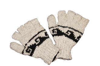 Gray black wave Knitted Half Gloves