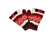 Red striped square Knitted Half Gloves