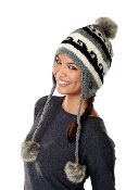 stylish earflap winter hat with faux-fur pom pom